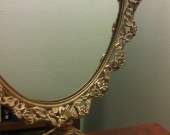 Vintage rose filigree mirror