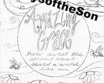 Amazing grace coloring page by raysoftheson on etsy for Grace coloring page