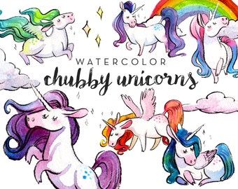 Watercolor Chubby Unicorn Clipart Set - INSTANT DOWNLOAD - High Res, PNG, Printable and Cute! For stationery, birthdays and baby showers