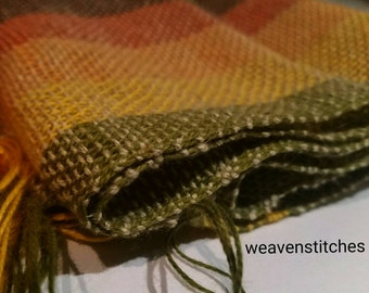 Hand woven Swedish Cotton and Linen Earth colours stripe Scarf