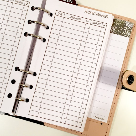 Checking/Bank Account Manager/Register vertical Printed Planner Inserts / Personal & Half Letter Size