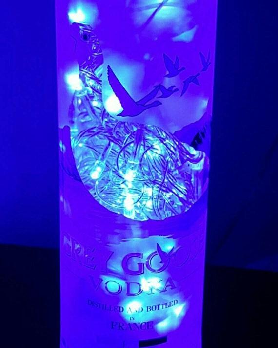 Handmade Blue LED 8-Mode Grey Goose Liquor Bottle Lamp