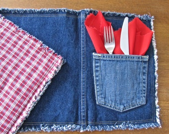 "Recycled denim jean ""pocket"" placemats, reversible - set of two with red napkins"
