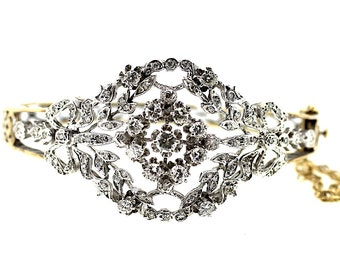 14ct Victorian Revival Diamond Bangle / Victorian Diamond Cluster Bangle / Diamond Gold Bangle / Large Diamond Leaf Bangle / Flower Diamonds