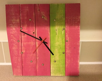 Reclaimed pallet clock; recycled wall clock; pallet clock
