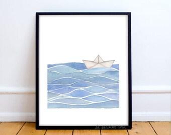 Sail Boat print, Nautical wall art, Beach house theme, Ocean wall art, Nautical room poster, Origami boat print, Wave print