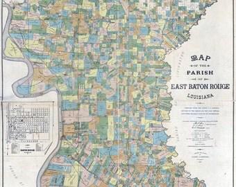 1895 Map of East Baton Rouge Parish (County) Louisiana