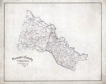 1867 Map of Hanover County Virginia