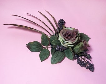 Fall-Themed Floral, Foliage, and Plumage Fascinator