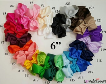 """Baby Bow, Infant Bow, 6"""" Bow, Boutique Bow, Girl Bow, French Clip Bow, 6B01 ----- Pick 1, 6, 12, 24"""