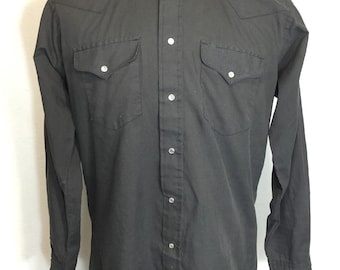 80's western shirts 50/50 blend black pearl snap button mens