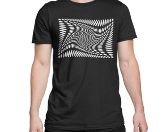 Psychedelic Trippy  T-Shirt - Black & White Retro Hand Crafted Print