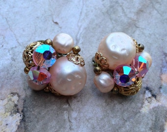 Vintage Pink Crystal and Gold Clip Earrings