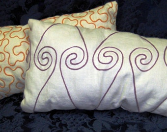 Long Embroidered -Orange Or Violet On Ivory- Linen Pillows