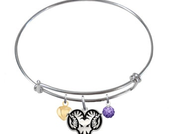 West Chester Golden Rams Sterling Silver Adjustable Bangle Bracelet. 3 Charm Styles Available