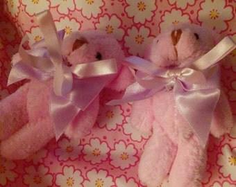 Pink Teddy Bear with Cute Bow Tie Hair Clip