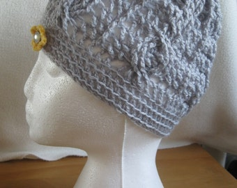 Cable design Handmade Crocheted Hat.