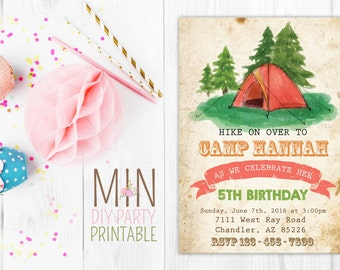 Camping Party Invitation 5,Camping Invitation, Camping Invite, Glamping Invitation, Girls Camping Invitation, Glamping Invite