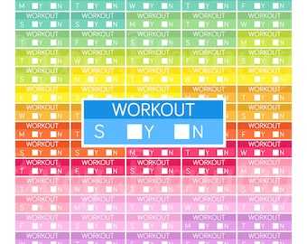 Printable Weekly Workout planner Stickers Workout Planner Stickers Printable planner Stickers for Erin Condren planner stickers Rainbow