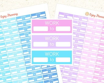 Work Printable planner stickers Work Printable Stickers Erin Condren planner stickers Work Schedule Happy Planner stickers Blue Lavender