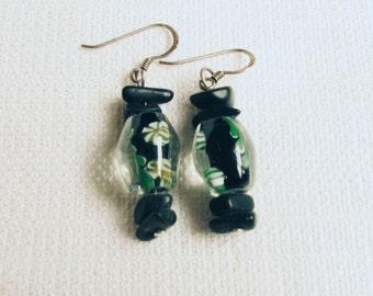 Vintage Lampwork Sterling Silver 925 Black and Green Earrings/ Handmade Lampwork Beads Earrings