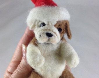 OOAK Needle Felted Christmas Tree Ornament Bulldog Puppy by artist C.E Turner