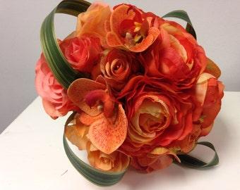 Orange silk bridal bouquet