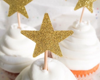 Gold Glitter Star Cupcake Toppers • Birthday • Baby Shower • Food Pick • Wedding
