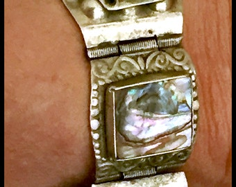 40g Sterling Taxco Abalone, Aztec Carved Face Bracelet Taxcor 40g
