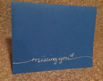 Miss you handmade card (blank inside)