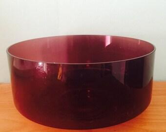 Vintage mid century modern glass purple bowl great condition