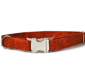 Dog collar in Orange dots