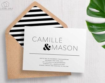 Wedding Invitation Suite | Save the Date | Simple Invitation | Informal Wedding | Minimal | Custom | Invite Set | Camille Suite