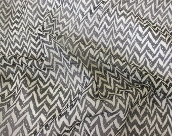 Black & Grey Chevron Printed Chiffon Dress/Scarf Fabric. Price Per Metre.