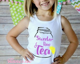 Sweeter Than Tea Tank, Girl's Tank Top, Toddle tank Top, Southern Girl, Country Life, Sweet Tea, Birthday Gift, Summertime, Country Girl