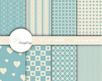 Blue and Ivory Digital Paper Download, Scrapbook Paper Pack, Digital Scrapbooking, Instant Download Digital Print #240 B