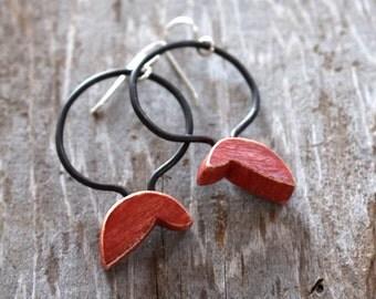 Forked leaf earrings with hoop