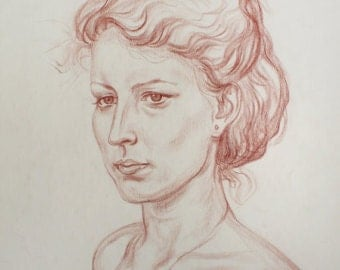 FEMALE PORTRAIT Vintage Original DRAWING by Feigin L. 1980's One of a Kind, Not a Print, Handmade Signed Artwork, Woman's Portrait