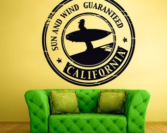 rvz1288 Wall Decal Vinyl Sticker Decals California Sun Wind Stamp Travel