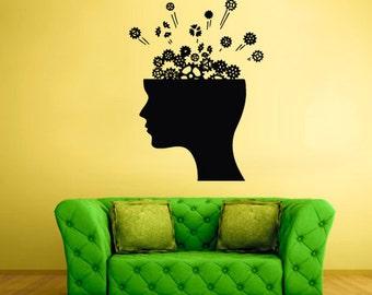 rvz1838 Wall Vinyl Sticker Bedroom Decal Decal Head Gears Mind