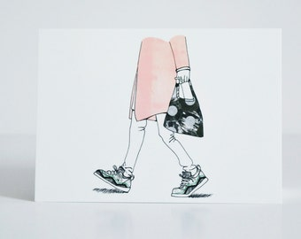 Walking Girl Postcard - Fashion Illustration of Girl with bag, sneakers and modern coat