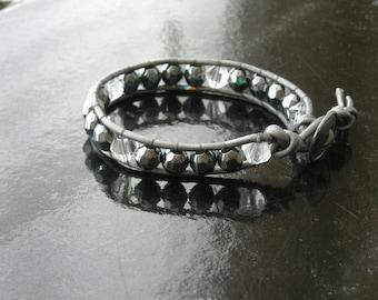 Crystal and Hematite Single Wrap Bracelet