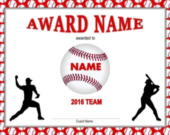 Baseball certificate etsy printable baseball certificate player pack baseball certificates baseball award template child certificate yadclub Image collections