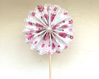 Set of 12•cupcake toppers•Vintage Inspired •Rosette