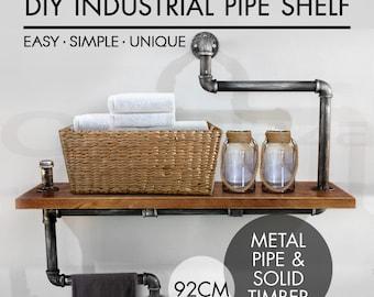 NEW Rustic Industrial DIY Pipe Shelf Storage Shelves Bookshelf Wall Mount Wooden