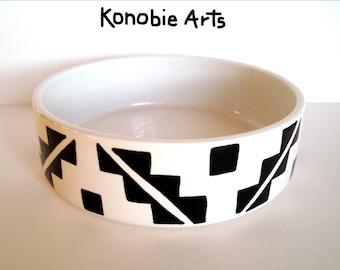 Dog Bowl, Ceramic Dog Bowl, Southwest Dog Bowl, Designer Dog Bowl, Modern Dog Bowl, Black and White Dog Bowl,  Adobe Style