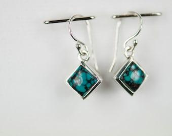 B001-001-002 Handmade Sterling Silver Hoop Earrings Black & Blue Turquoise December Birthstone