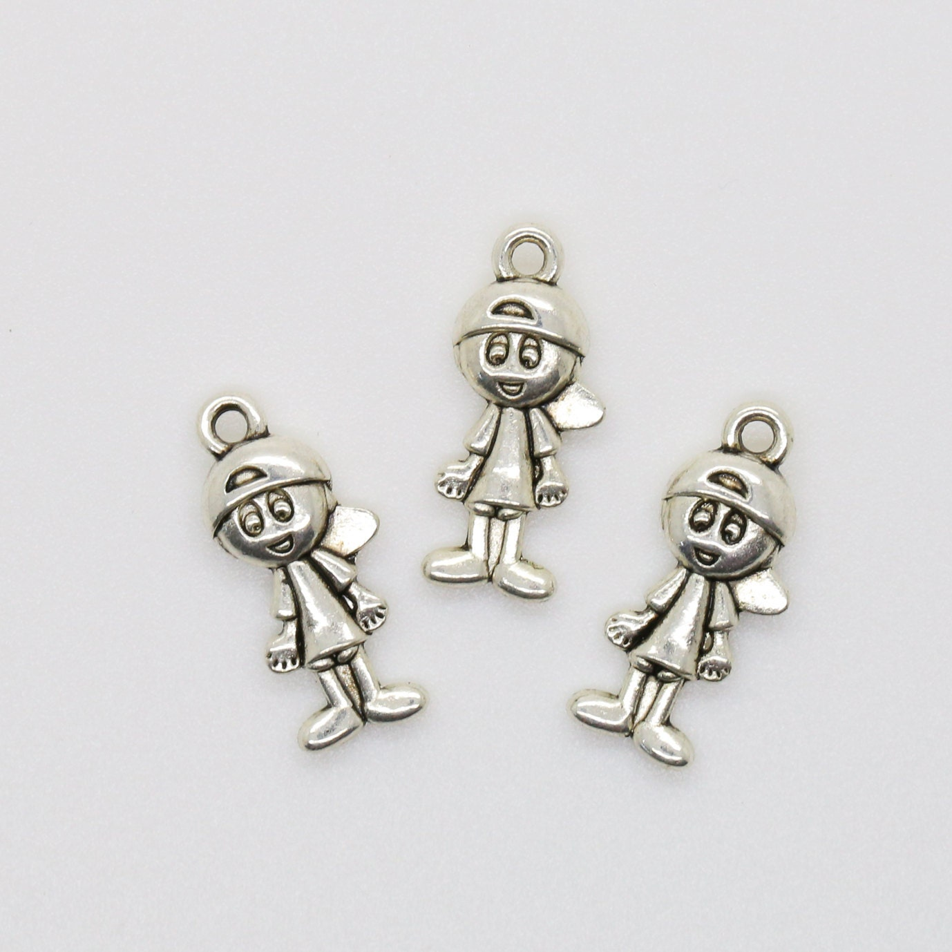 3 antique silver boy charm 3d boy pendant diy jewelry