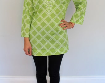 Green Diamond Print Tunic