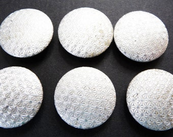 "1960s Op Art Silver 1"" /2.5cm Vintage Buttons 6 of them"